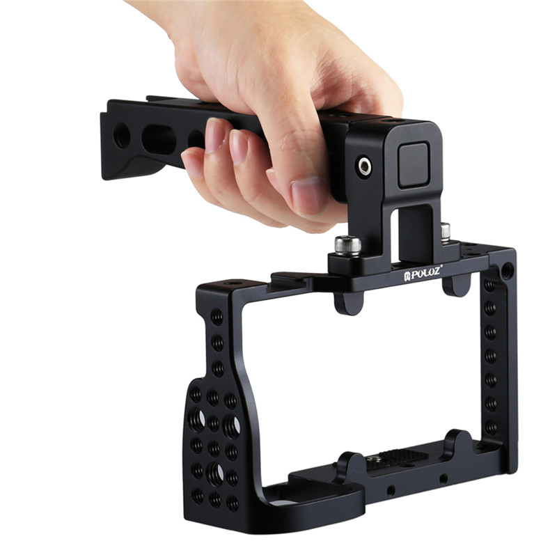 PULUZ PU3020B Aluminum Alloy Video Camera Cage Protector Handle Stabilizer For Sony A6300 A6000 New Arrival fotopal aluminum alloy dslr video camera cage handle grip stabilizer kit for sony a6000 a6300 a6500 camera