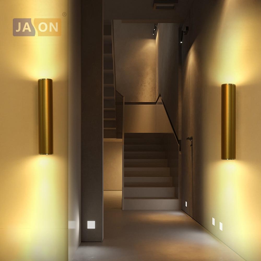 LED Modern Iron Aluminum 6w 7w 10w 14w Golden Cylinder LED Lamp LED Light Wall lamp Wall Light Wall Sconce For Corridor Bedroom