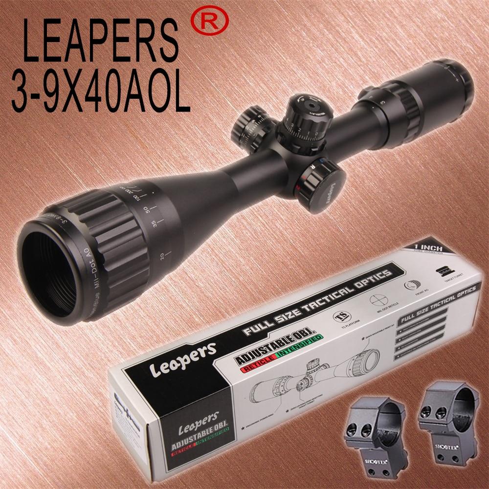 LEAPERS 3-9X40 Cannocchiali Fucile Da Caccia Sniper Scope Tactical Ottica Scopes R/G/B Illuminato Per La Caccia Fucile Aria pistole