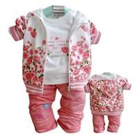 Hot Floral Baby Girls Clothes Sets Kids Coats T Shirt Pants Sport Suit Newborn Tracksuit Hooded