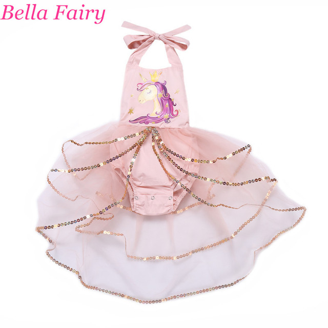 792c46598 Unicorn Baby Dress Christmas Dress Baby Girl clothes Printed Halter  Princess Tutu Sequin Mesh Toddler Kids Romper Clothes