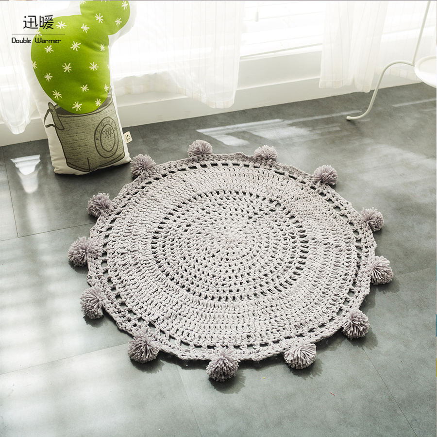 Euro Style knitted hollowed-out Carpets Cotton Storage Pad <font><b>Mats</b></font> Quilting Round Area Rugs Diameter 80*80cm Soft Baby Toys Pouch