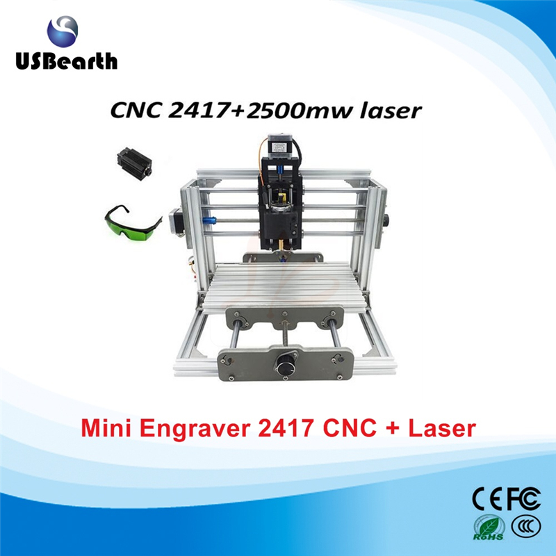 mini CNC 2417 PRO + 2500mw laser CNC engraving machine Pcb Milling Machine Wood Carving machine cnc router wood milling machine cnc 3040z vfd800w 3axis usb for wood working with ball screw