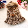 girls winter coat children outwear leopard faux fur coat autumn jackets for girls slim clothes baby thick fleece warm clothing