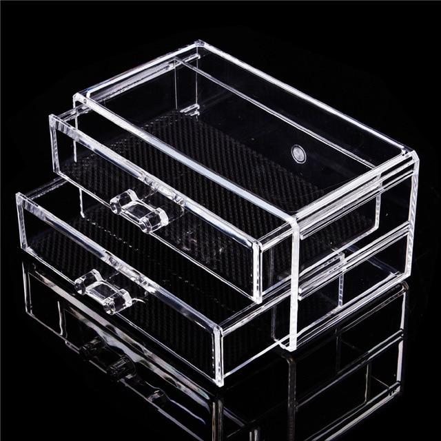 Fashion Clear Acrylic Cosmetic Jewelry Makeup Organizer Box Case 2