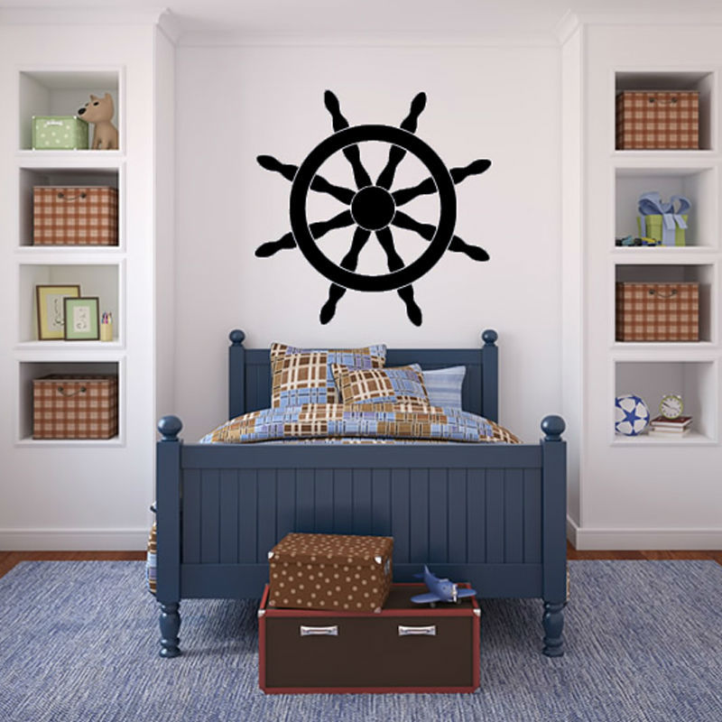 Ship Helm Wall Decal Art Vinyl Removable Black Self Adhesive Home Decor Wall Sticker For Bedroom