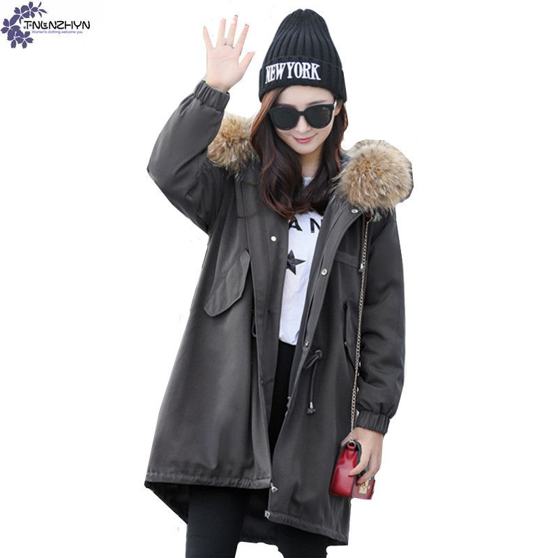 TNLNZHYN Women clothing high-end Cotton Outerwear winter new fashion Loose large-size long-sleeved Female warm Cotton coat QQ592 цена и фото