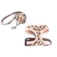 Durable Pet Harness Dog Cat Cotton Pink Beige Leopard Adjustable Collar Puppy Leash Harness Set Kitten