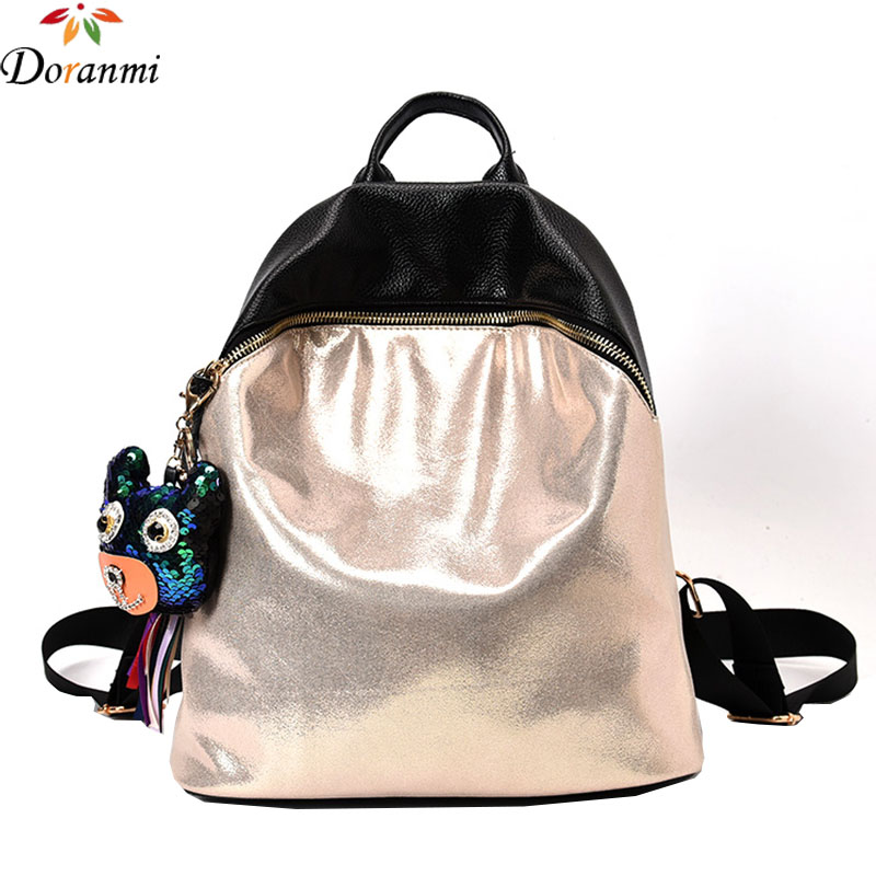 DORANMI Hot Schoolbags Shining PU Leather Women s Backpack Traveling Bags With Bear Hook Toy Trendy