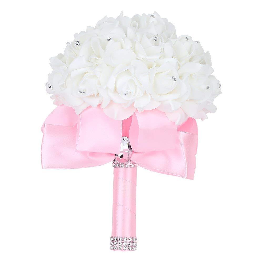 2019 Fatti A Mano Romantico Rosa Da Sposa Damigella D'onore Del Fiore Bouquet Da Sposa Fiore Artificiale Fiore Di Rosa Del Nastro Di Cristallo Bouquet De Noiva