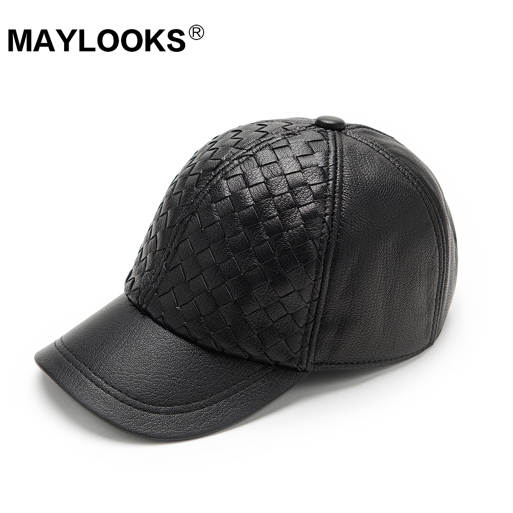 men genuine leather cowskin cap 100% Leather Russian winter warm baseball solid color fashion hats CS113