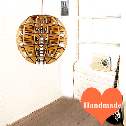 Modern individuality handmade wood art Pendant Lights indoor E27 led lamp spherical ply-wood chip lights for cafe&pavilion BT136 parasitic wood