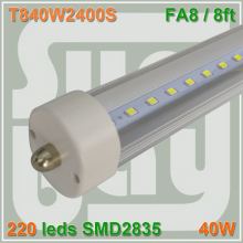 50pcs/lot free shipping LED tube T8 8ft 2400MM 2.4M 40W single pin FA8 compatible with inductive ballast remove starter