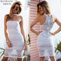 High quality 2017 the newest summer bandage dress Halter off the shoulder dress with lace party sexy knee-length dress in club
