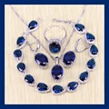 Reginababy Elegant Blue created Sapphire Bracelets Jewelry Sets For Women Angelic Silver color Earrings/Ring/Necklace/Pendant