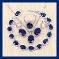 Reginababy Elegante Azul Zafiro creado Pulseras de La Joyería Para Las Mujeres Angelic color Plata Pendientes/Anillo/Collar/Colgante