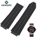Rubber Watchbands Strap 26/25mm X 19mm Watch Lug Men Black Waterproof Silicone Watchbands Without Buckle Watch Accessories