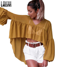 LAISIYI Sunscreen Chiffon Blouse Summer Long Sleeve Loose Bohemian Long Shirt V-neck Blusas Plus Size Blouses Women ASBL20062
