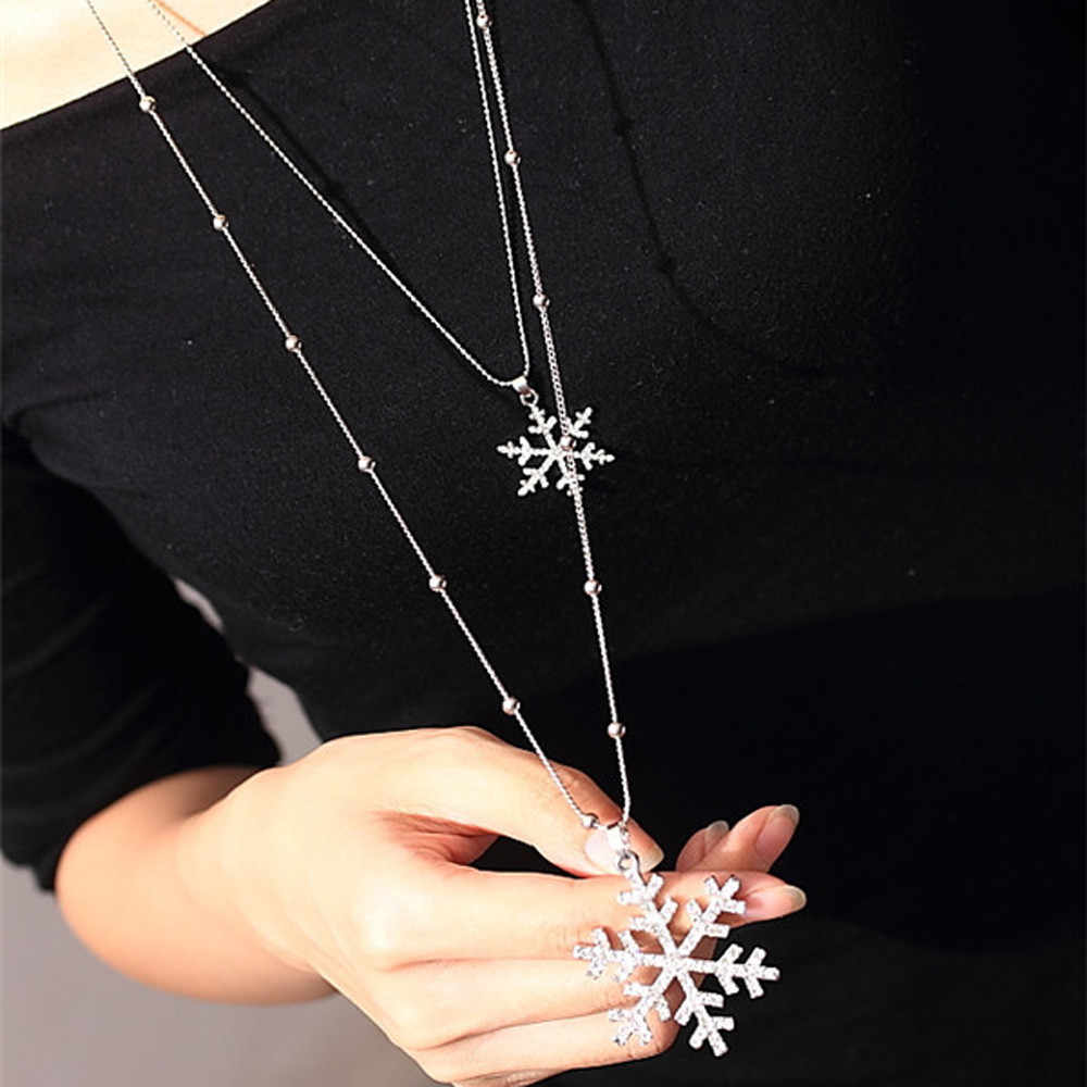2018 New Designer Woman necklace Fashion Gold Snowflake Rhinestone Long Neck Sweater Double Layer Necklace And Pendant Drop ship