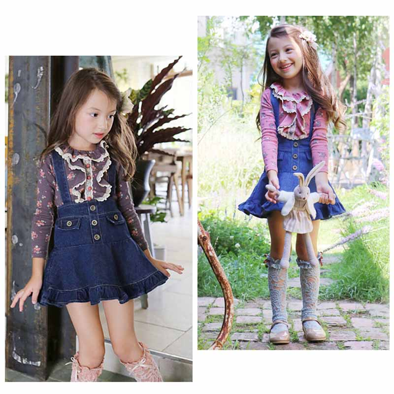 ФОТО Baby girls clothing sets kids Floral Lace Long Sleeve T-shirts tops+Denim strap Tutu skirt 2pcs sets Toddler Christmas gifts