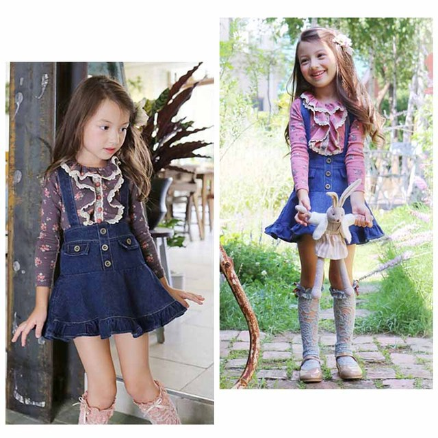 9b770b4dc41 Baby girls clothing sets kids Floral Lace Long Sleeve T-shirts tops+Denim  strap