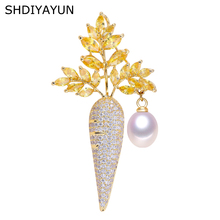 SHDIYAYUN 2019 New Pearl Brooch For Women Carrot Brooches Pins Natural Freshwater Pearl Fine Jewelry Accessories Dropshipping цена