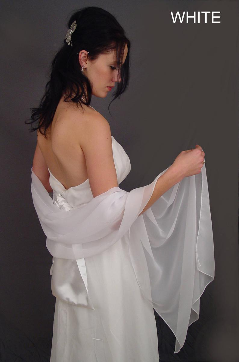 Chiffon Bridal Wrap Wedding Shawl Scarf Sheer Prom Bridesmail Evening Cover Up Long Shrug Stole IN White And 11 Other Colors