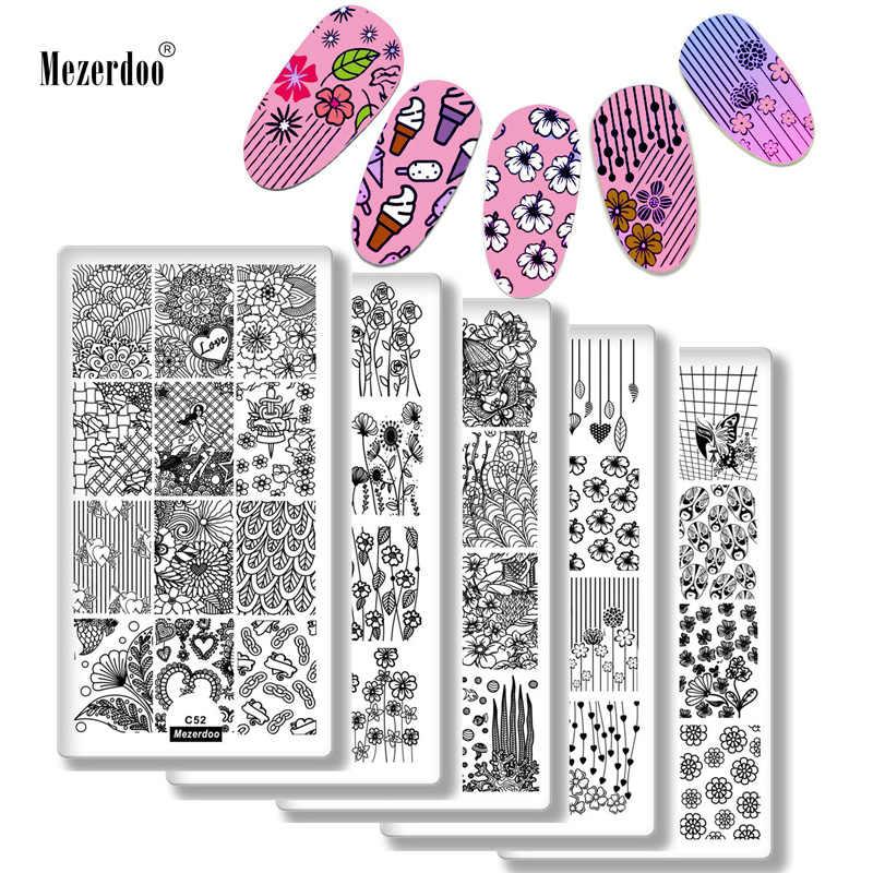 10 ชิ้นการออกแบบต่างๆแผ่นปั๊มเล็บชุดดอกไม้ Love งู Nail Art แสตมป์แม่แบบ DIY เล็บเครื่องมือเล็บ stencil