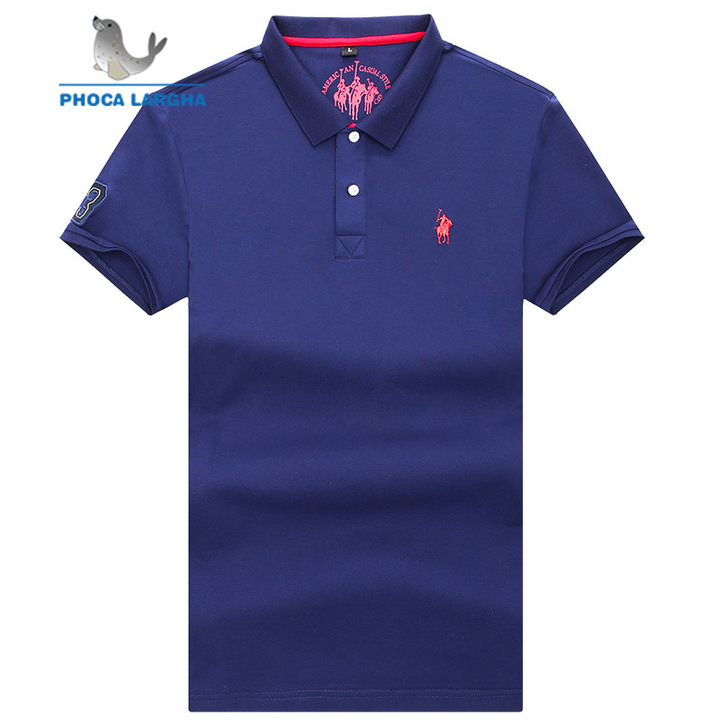 Men's Casual PoloShirts Summer Solid Color 3D Embroidery Short Sleeve For Man Slim Fit Cotton Camisa   Polos   para hombre Masculina