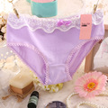2016 New laciness Girl shorts briefs cotton bow buds lace underpants Slim panties girls teenagers 3025 women underwear calcinha