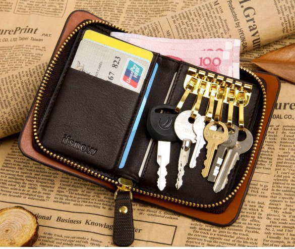 10 Colors Men genuine leather key wallet multifunctional zipper vertical purse key case hard card holder purse black / coffee terse key wallet men lettering handmade leather calfhide bespoke wallet men key holder exquisite hand patina good quality