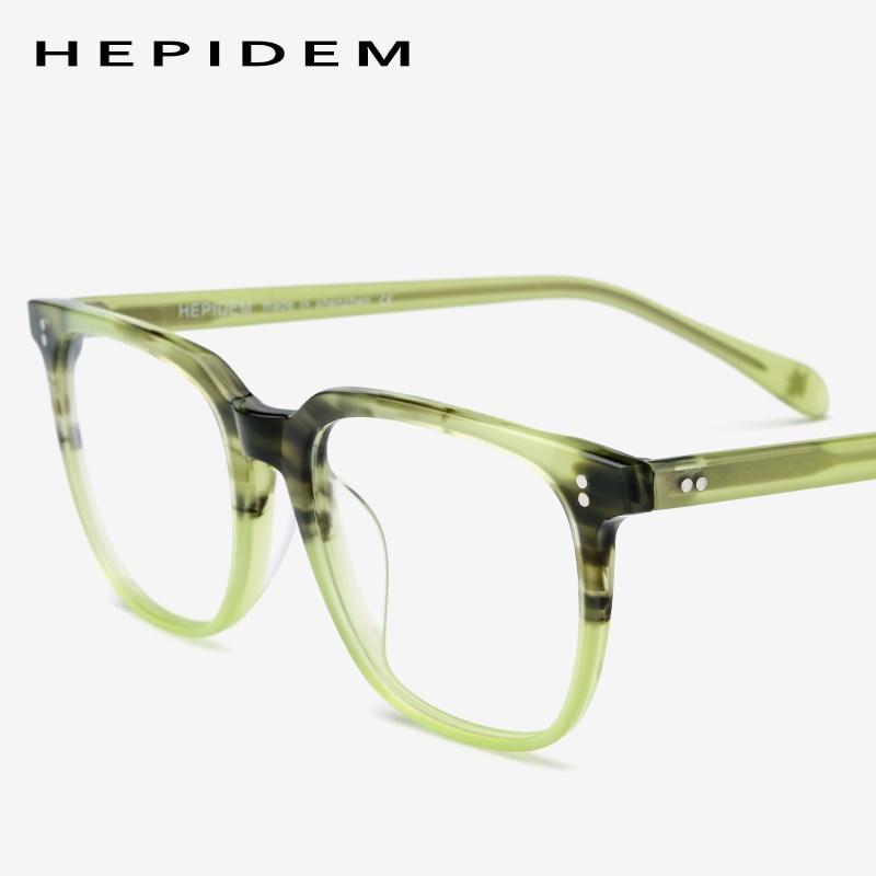 Acetate Eyeglasses Frame Men Square Prescription Glasses 2019 New Men's Male Myopia Optical Frames Clear Spectacles Eyewear 9114-in Men's Eyewear Frames from Apparel Accessories