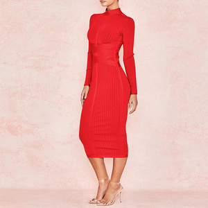 Image 2 - Ocstrade New Arrival 2020 Womens Midi Bandage Dress Red Sexy High Neck Long Sleeve Bodycon Bandage Dress Rayon Party Dresses