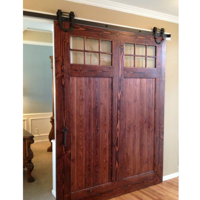 (USA Free Shipping) 10ft /12ft Black Antique Horseshoe Barn Single Wood  Sliding Doors