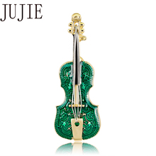 JUJIE Fashion Green Enamel Violin Brooches For Women 2019 Musical Instruments Brooch Pins Scarf Clothing Jewelry Dropshipping jujie fashion crystal deer brooches coat clothing scarf lapel pins elk corsage fashion jewelry