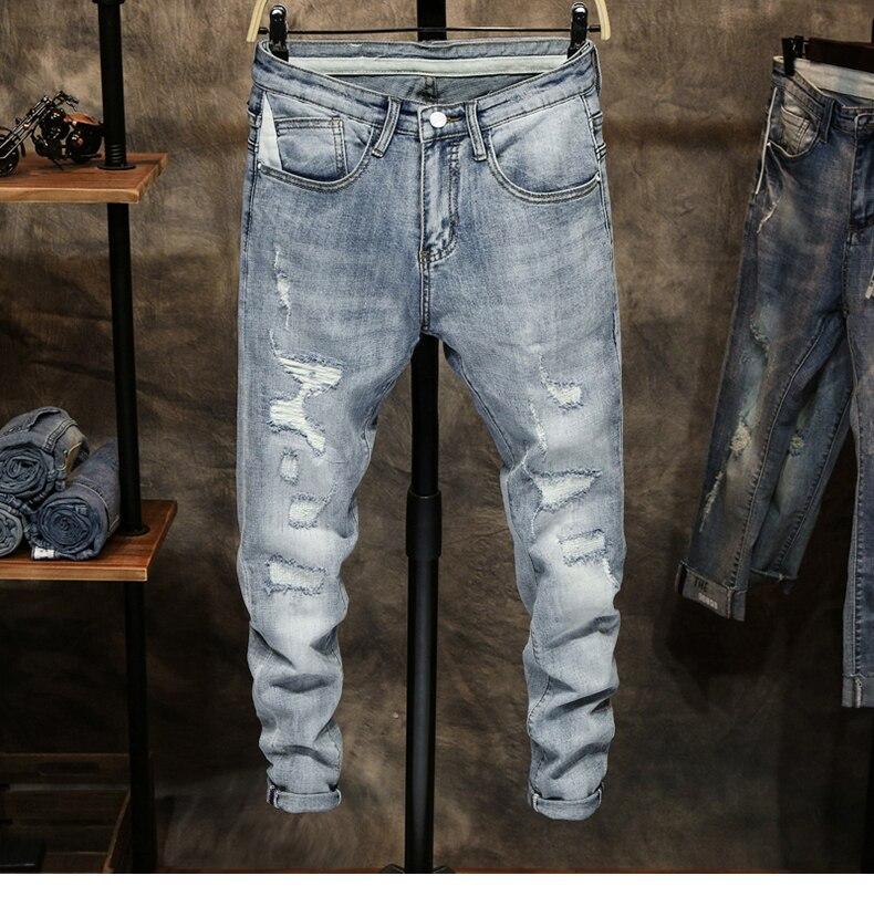Ripped Jeans for Men Skinny Light Blue Gray Stretch Slim Leg Streetwear Distressed Moto Biker Jeans