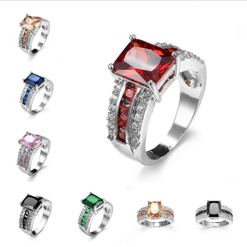 2018 new luxury female square zircon rings noble unique charm modeling women Engagement Wedding multicolor zircon ring No. 6-10