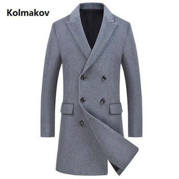 2019 New style Men's fashion wool trench coat Double-breasted jacket Men's casual Business coats high quality overcoat men
