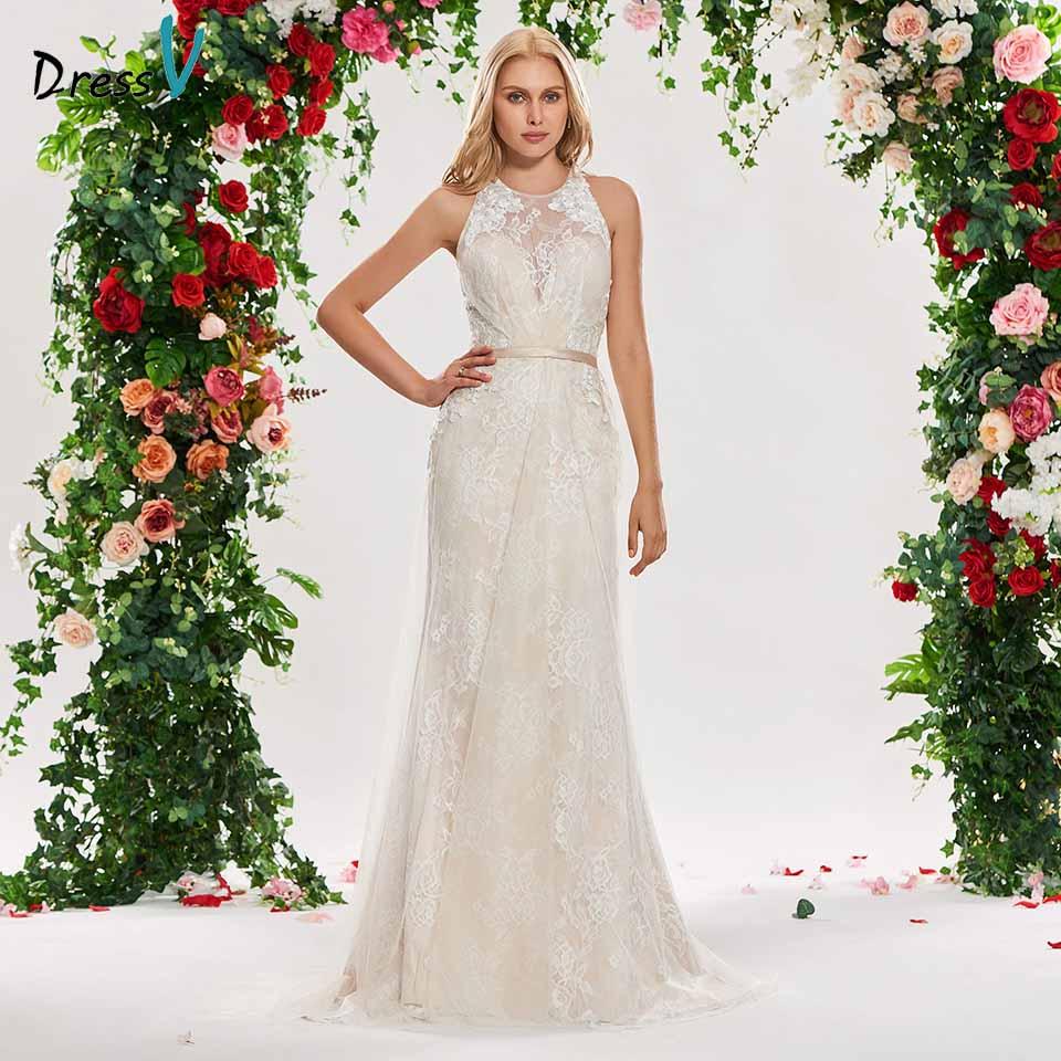 Dressv elegant scoop neck wedding dress mermaid lace sweep train sleeveless  floor length bridal outdoor&church wedding dresses