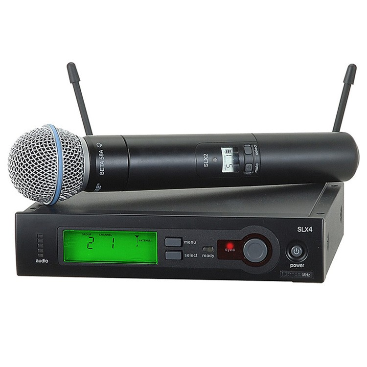 True diversity UHF SLX24 BETA58 Wireless Microphone Professional Vocal Cordless Microfone SLX4 58A with 6 pin Handheld IR Sync  top quality professional true diversity single handheld wireless mic microfone uhf wireless microphone system perfect for stage