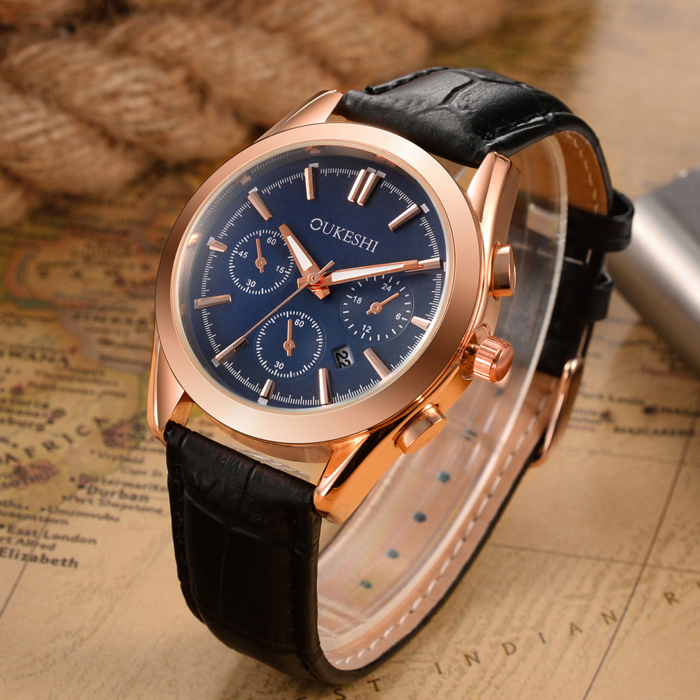 man watch 2019 Top Luxury Brand Fashion Rose Gold Watches Men Quartz Watch Male Clock Leather WristWatch Relogio Masculin