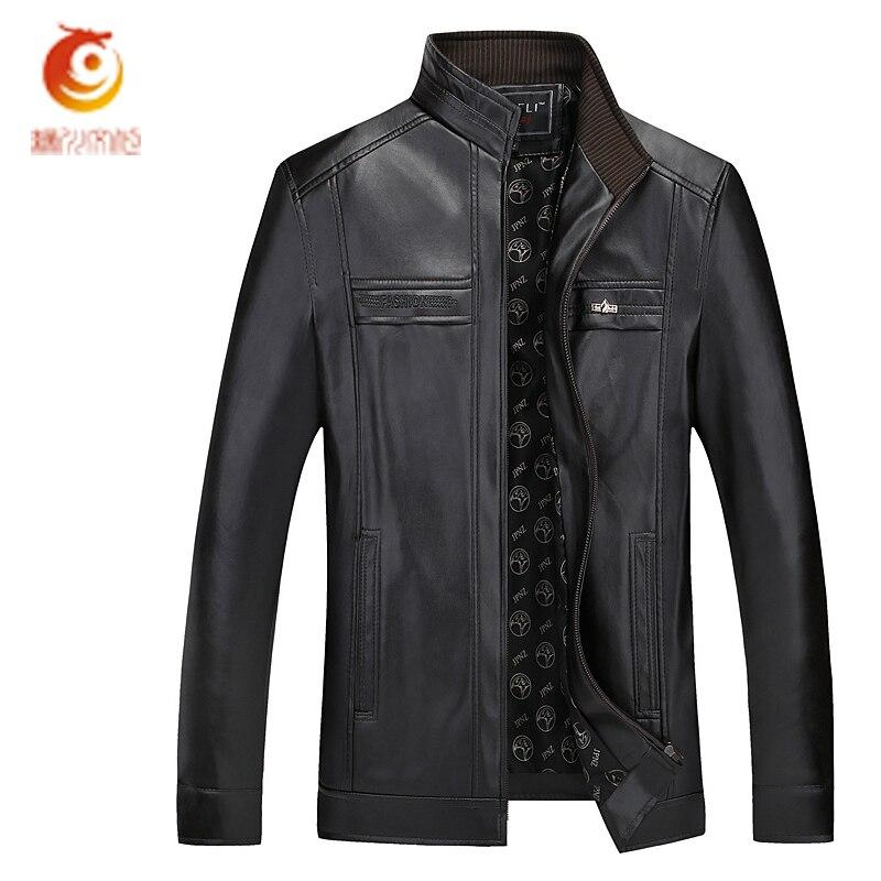 2017 Spring Autumn PU Mens Leather Jacket Fashion High Quality Business Casual Coats Jaqueta Masculina Couro Plus Size 4XL