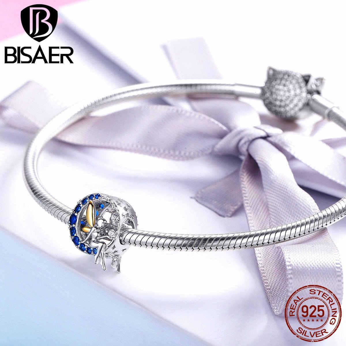 Bisaer pingentes de prata, conta redonda para pulseiras, joias efc070, 2019