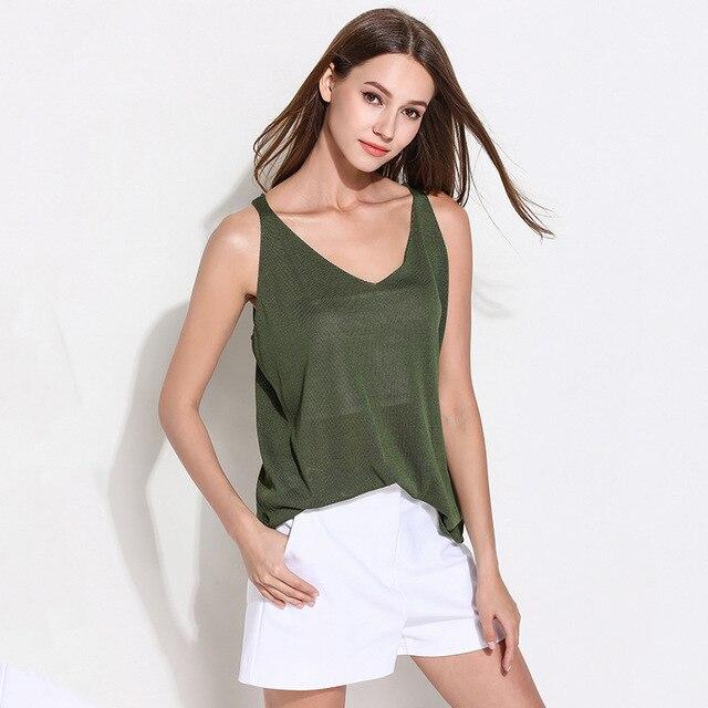Danjeaner Sexy Dệt Kim Tank Tops Phụ Nữ Rắn Slim Top Vest Sequined V Cổ Dài Tank Tops Blusa Đơn Giản Căng Ra Áo Len