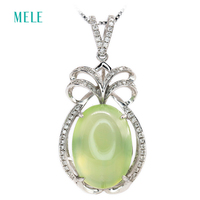 Natural Green Prehnite 18K White Gold Pendant Oval 13mm 18mm Top Quality Jewelry With Real Diamond