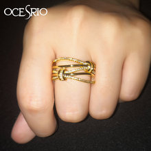 OCESRIO Luxury Zircon Gold Rings for Women Girls Cubic Zirconia Womens Wave Rings Jewelry CZ Dubai Gold Jewellery rig-f85(China)