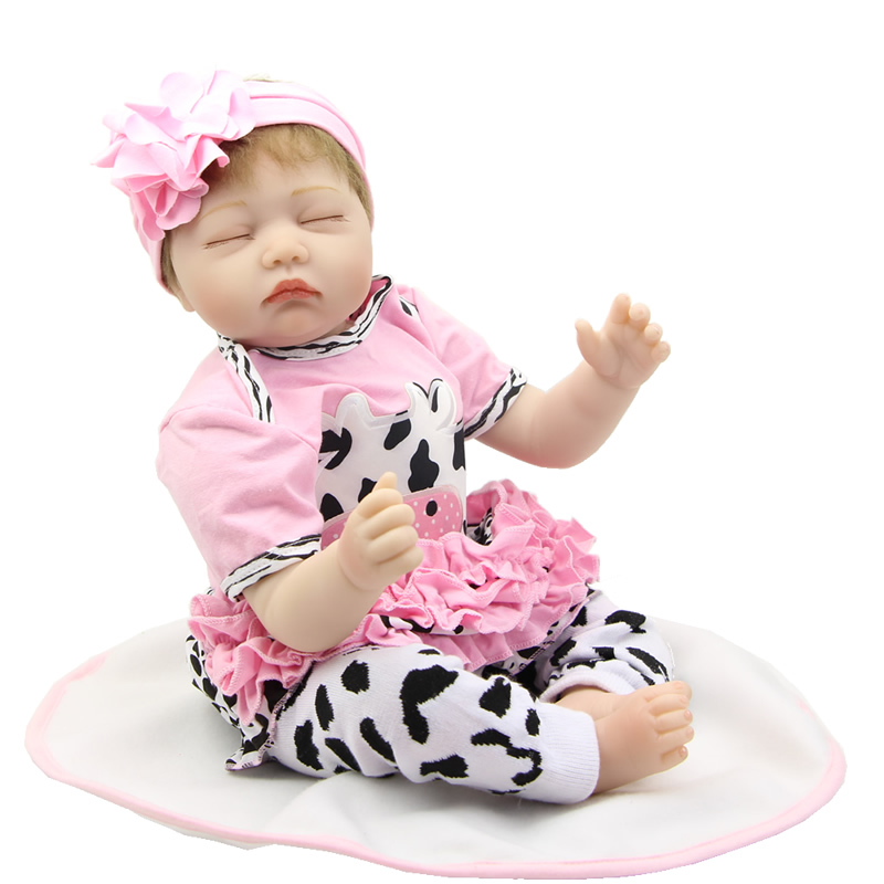 22 Inch Soft Silicone Baby Doll Reborn Realistic Newborn Girl Babies Lifelike Kids Birthday Chirstmas Gift can sit and lie 22 inch reborn baby doll realistic lifelike silicone newborn babies with pink dress kids birthday christmas gift
