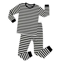 e6976d8c3aac1 Noir Blanc Coton Plein Manches Rayé Pyjamas Ensembles Garçons De Noël Pyjama  Définit Les Enfants De Nuit Bébé De Nuit Enfants Ho.