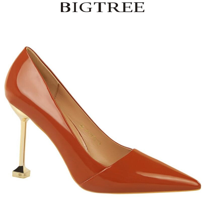 Bigtree Shoes Brand Women's Sexy Glitter Pumps Gold Metal Heel Pointed Toe High Heels Wedding Shoes Woman Office Lady Pumps [saziae] red bottom high heels women pumps glitter high heel shoes woman sexy wedding party shoes gold black female sexy pumps