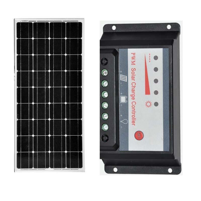 Solar Kit Solare Pannello 12 w 100 v Controlador de Carga Solar 12 v/24 v 30A PWM Motorhome Caravana iates barcos Carregador de Telefone